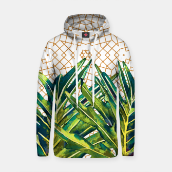 Thumbnail image of Tropical plant on ornamental background Sudadera con capucha de algodón, Live Heroes