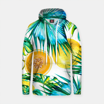 Thumbnail image of Pattern leaf & melon Sudadera con capucha de algodón, Live Heroes