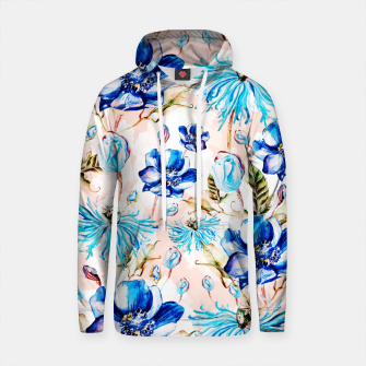 Thumbnail image of Blue flowery nature pattern Sudadera con capucha de algodón, Live Heroes