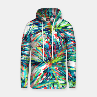 Thumbnail image of Abstract glitch tropical leaf Sudadera con capucha de algodón, Live Heroes