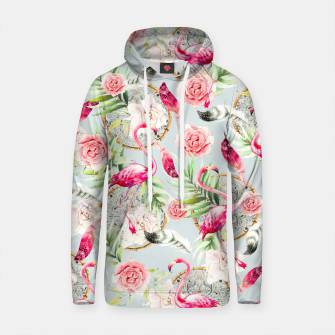 Thumbnail image of Flowered boho with flamingos Sudadera con capucha de algodón, Live Heroes