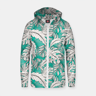 Thumbnail image of Drawing of tropical plants on turquoise Sudadera con capucha y cremallera de algodón , Live Heroes