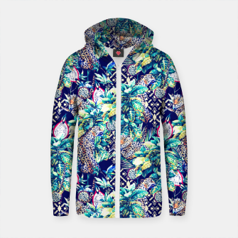 Thumbnail image of Tribal and leopards in the rainforest Sudadera con capucha y cremallera de algodón , Live Heroes