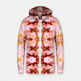 Thumbnail image of Mosaic pattern pink mineral texture Sudadera con capucha y cremallera de algodón , Live Heroes