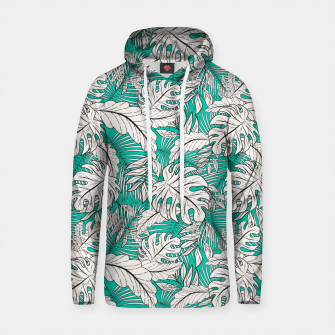 Thumbnail image of Drawing of tropical plants on turquoise Sudadera con capucha de algodón, Live Heroes