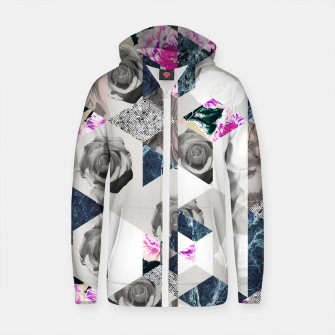 Thumbnail image of Geometric mosaic of textures and roses Sudadera con capucha y cremallera de algodón , Live Heroes