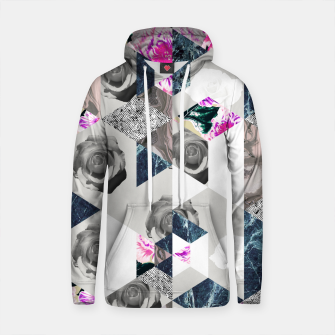 Thumbnail image of Geometric mosaic of textures and roses Sudadera con capucha de algodón, Live Heroes