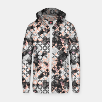 Thumbnail image of Mosaic patterned and flowering Sudadera con capucha y cremallera de algodón , Live Heroes