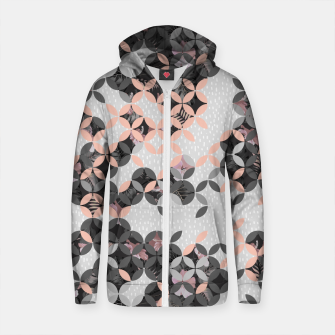 Thumbnail image of Mosaic patterned and flowering I Sudadera con capucha y cremallera de algodón , Live Heroes
