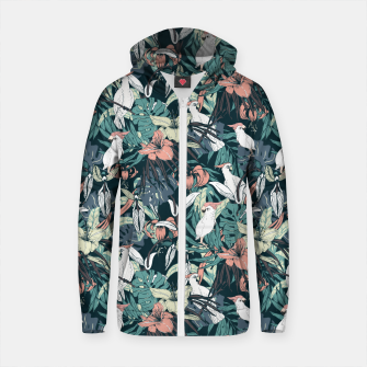 Thumbnail image of Pattern drawing exotic birds in the nocturnal jungle Sudadera con capucha y cremallera de algodón , Live Heroes
