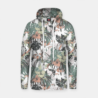 Thumbnail image of Pattern drawing exotic birds in the rainforest Sudadera con capucha de algodón, Live Heroes