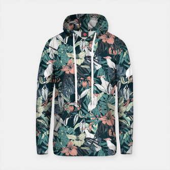 Thumbnail image of Pattern drawing exotic birds in the nocturnal jungle Sudadera con capucha de algodón, Live Heroes