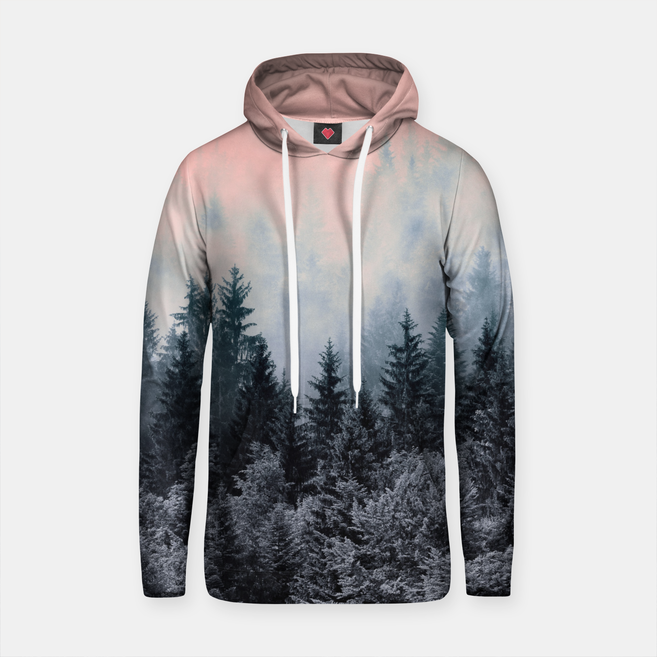 Image of Forest in gray and pink Sudadera con capucha de algodón - Live Heroes
