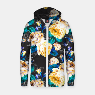 Thumbnail image of Flourishing in the night Sudadera con capucha y cremallera de algodón , Live Heroes