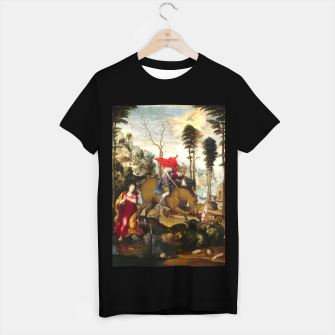 Miniatur Saint George and the Dragon Oil Painting by Sodoma T-shirt regular, Live Heroes