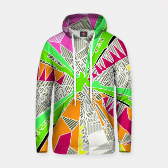 Thumbnail image of psychedelic geometric pattern drawing abstract background in green orange red pink Cotton hoodie, Live Heroes