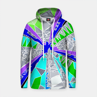 Thumbnail image of psychedelic geometric pattern drawing abstract background in blue purple green Cotton hoodie, Live Heroes