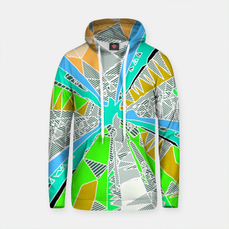 Thumbnail image of psychedelic geometric pattern drawing abstract background in blue green yellow brown Cotton hoodie, Live Heroes