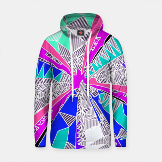Thumbnail image of psychedelic geometric pattern drawing abstract background in blue pink purple Cotton hoodie, Live Heroes