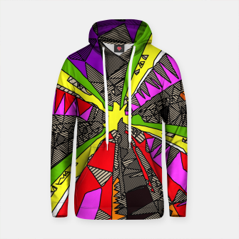 Thumbnail image of psychedelic geometric pattern drawing abstract background in red pink green yellow Cotton hoodie, Live Heroes