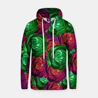 Thumbnail image of closeup rose pattern texture abstract background in red and green Cotton hoodie, Live Heroes
