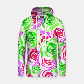 Thumbnail image of closeup rose pattern texture abstract background in pink red green Cotton hoodie, Live Heroes