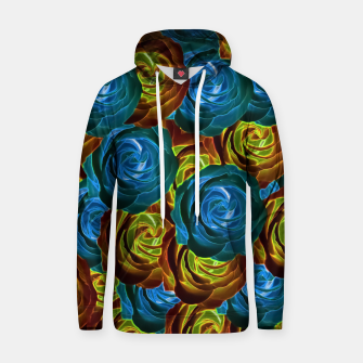 Thumbnail image of closeup rose pattern texture abstract in blue red and yellow Cotton hoodie, Live Heroes