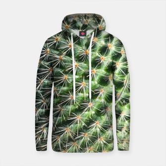 Thumbnail image of closeup green cactus texture with morning sunlight Cotton hoodie, Live Heroes
