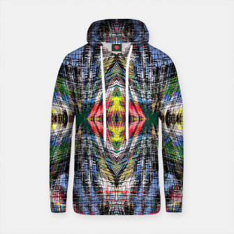 geometric symmetry pattern abstract background in blue yellow green red Cotton hoodie obraz miniatury