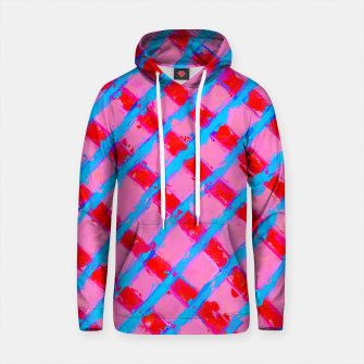 line pattern painting abstract background in pink red blue Cotton hoodie obraz miniatury