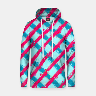 line pattern painting abstract background in blue and red Cotton hoodie obraz miniatury