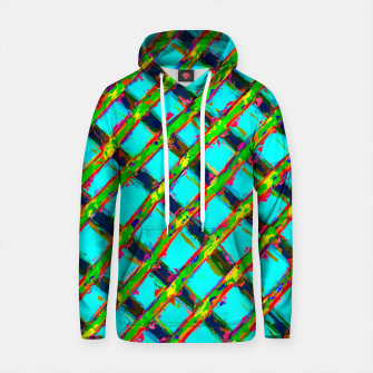 line pattern painting abstract background in blue green red yellow Cotton hoodie obraz miniatury