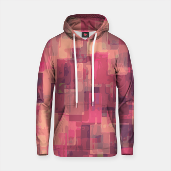 psychedelic geometric square pattern abstract in pink and purple Cotton hoodie obraz miniatury