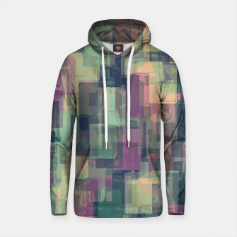 psychedelic geometric square pattern abstract in pink and green Cotton hoodie obraz miniatury