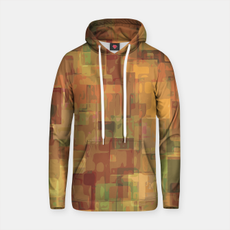 vintage psychedelic geometric square pattern abstract in brown and green Cotton hoodie obraz miniatury