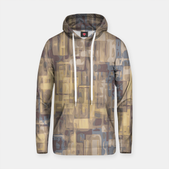 psychedelic geometric square pattern abstract in brown yellow and blue Cotton hoodie obraz miniatury