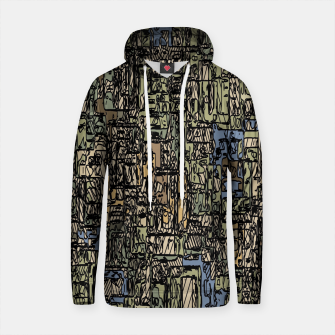 Thumbnail image of vintage psychedelic drawing and sketching abstract background in blue and brown Cotton hoodie, Live Heroes