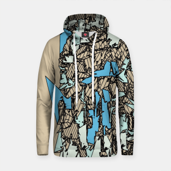 Thumbnail image of drawing and sketching abstract in blue with brown background Cotton hoodie, Live Heroes