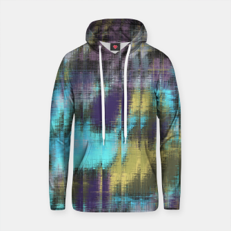 psychedelic geometric abstract pattern in blue yellow purple Cotton hoodie Bild der Miniatur