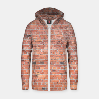 Miniaturka Plain Old London Red / Orange Brick Wall Cotton zip up hoodie, Live Heroes