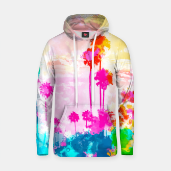 palm tree wth colorful painting abstract background in pink blue green red yellow Cotton hoodie miniature