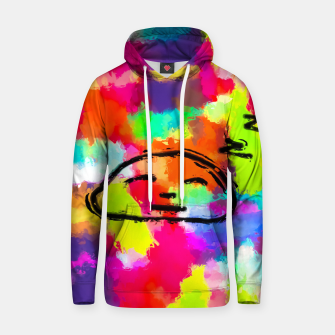 Thumbnail image of sleeping cartoon face with painting abstract background in red pink yellow blue orange Cotton hoodie, Live Heroes