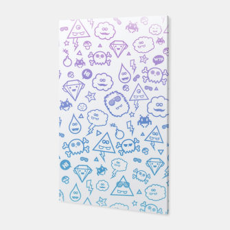 Thumbnail image of Crazy and Cute Monster Patter in blue pink Canvas, Live Heroes