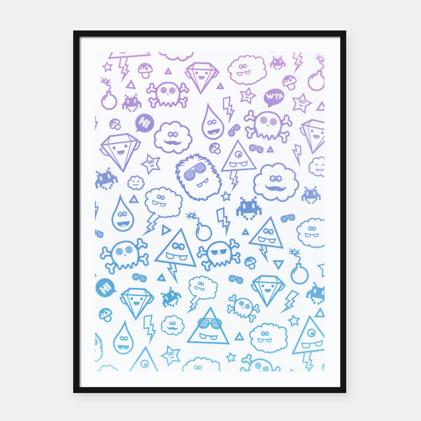 Image de Crazy and Cute Monster Patter in blue pink Framed poster - Live Heroes