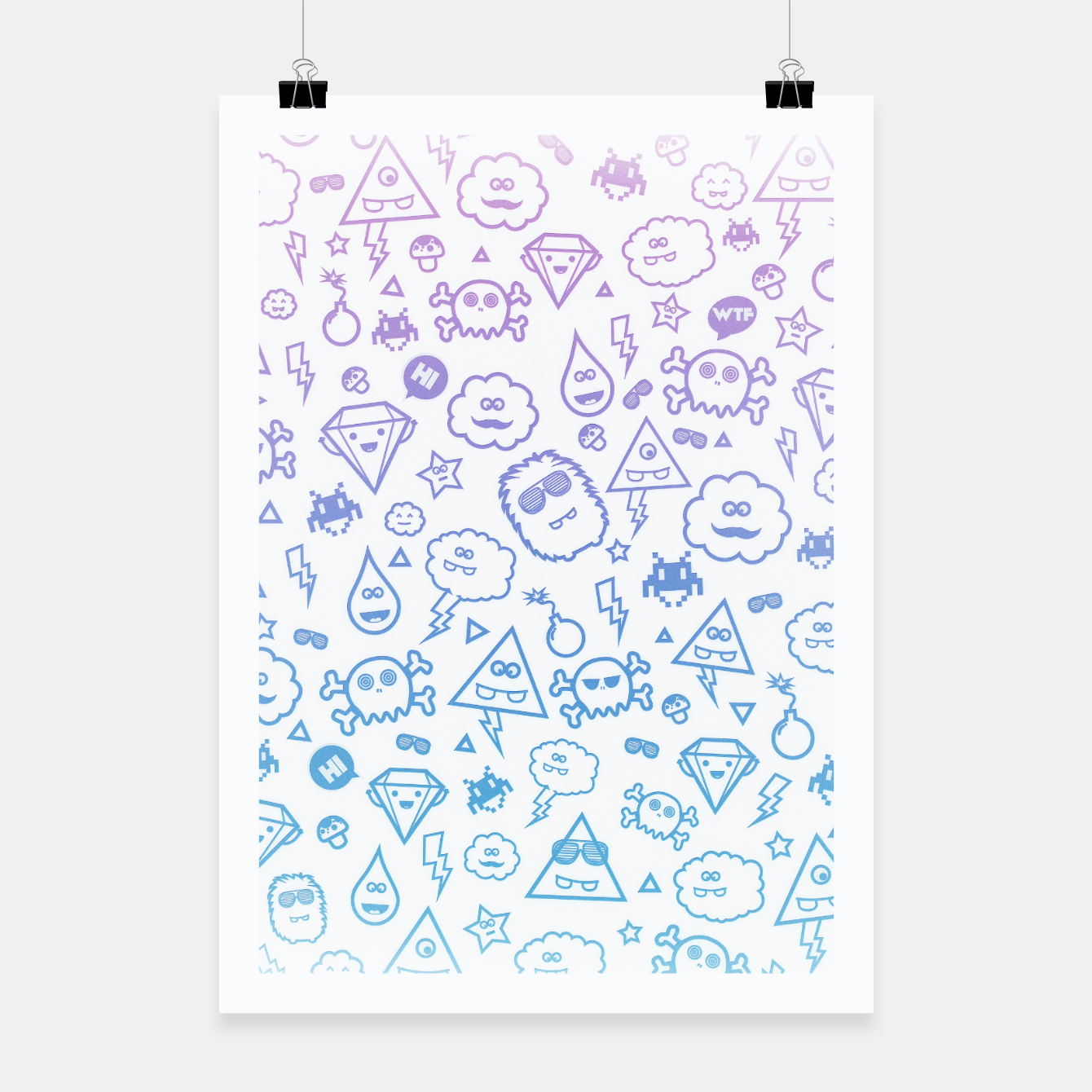 Image de Crazy and Cute Monster Patter in blue pink Poster - Live Heroes