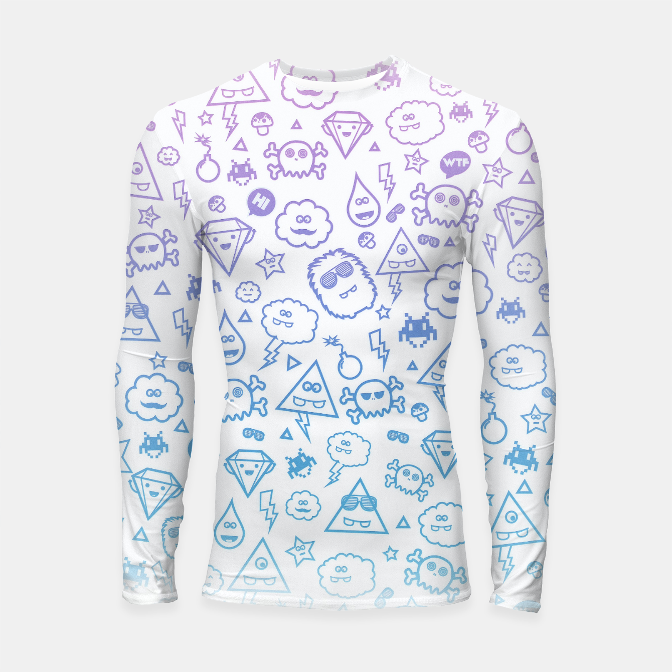 Image de Crazy and Cute Monster Patter in blue pink Longsleeve rashguard  - Live Heroes