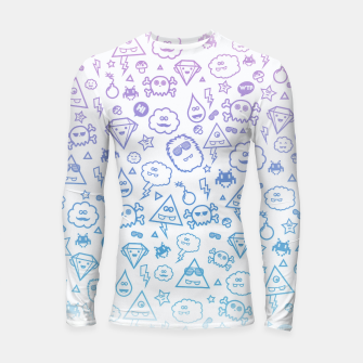 Thumbnail image of Crazy and Cute Monster Patter in blue pink Longsleeve rashguard , Live Heroes
