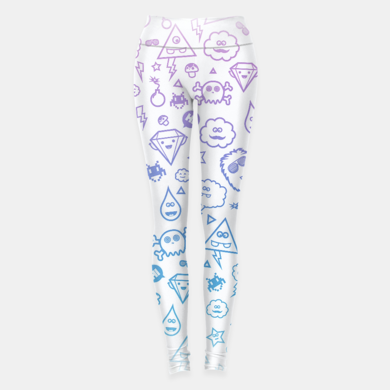 Image de Crazy and Cute Monster Patter in blue pink Leggings - Live Heroes