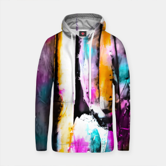 Thumbnail image of cactus with wooden background and colorful painting abstract in orange blue pink Cotton hoodie, Live Heroes