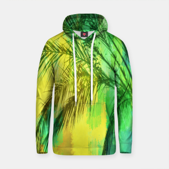 palm tree with green and yellow painting texture abstract background Cotton hoodie thumbnail image